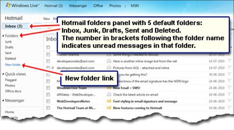 hotmail folders managing  email messages