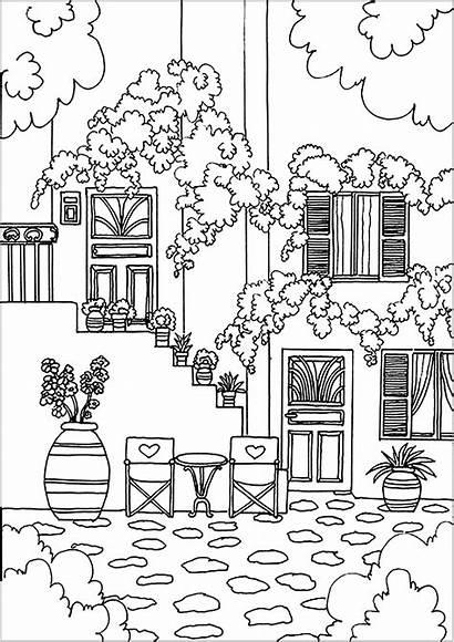 Coloring Maison Architecture Colorare Casa Disegni Adults