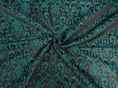 Brocade Fabric Teal Green X Black Color 44