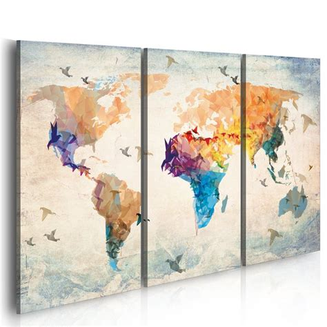 carte du monde cadre grand format impression sur toile images 3 carte du monde tableau 020113 232
