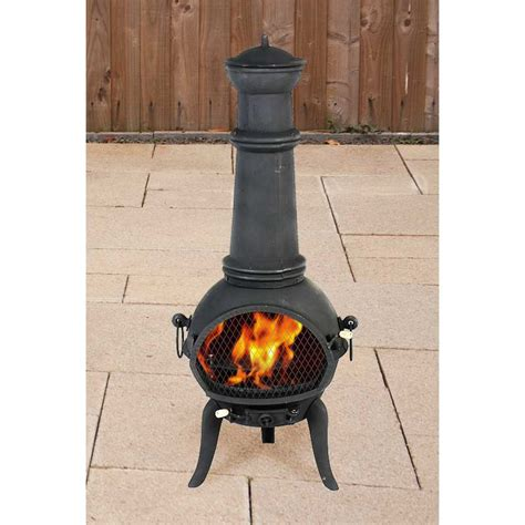 Chiminea On Sale - terra cast iron chiminea black 125cm high on sale fast
