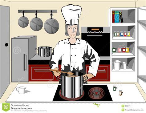 chef dans la cuisine image stock image 2141711