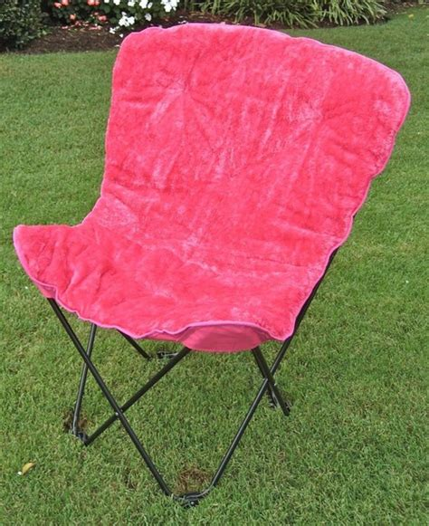 folding faux fur butterfly chair in pink contemporary