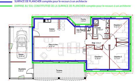 comment calculer la surface d une chambre schéma de calcul pour le recours à un architecte