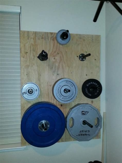 diy wall mounted weight plate storage plate storage  equipment workout diy home gym