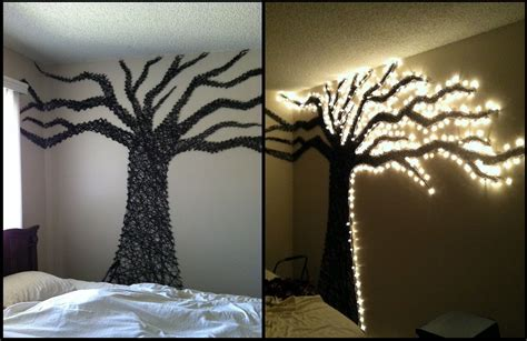 string wall tree diy home decor ideas using lights map it and level