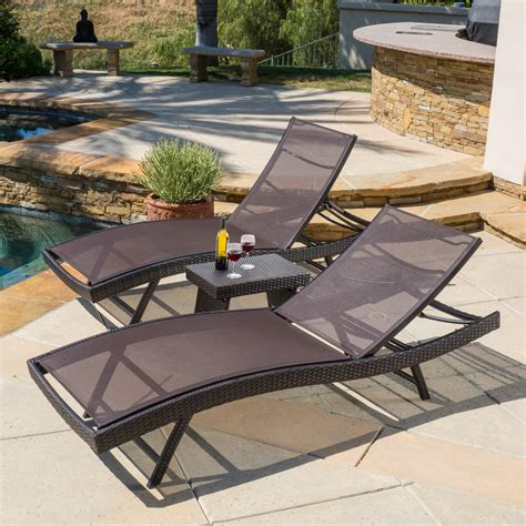 mesh chaise lounge chairs eliana outdoor 3pc brown mesh chaise lounge chairs set