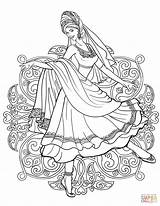 Coloring Indian Traditional Dancing Woman Pages Drawing Clothes Dance Printable Belly Supercoloring India Arabic Adult Fairy Sheets sketch template