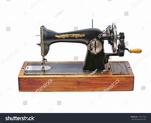 Old Manual Sewing Machine Isolated On Stock Photo