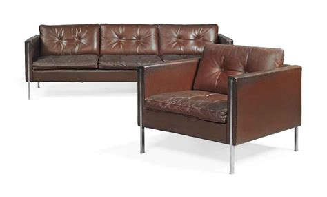 A Pierre Paulin Leather And Stainless Steel '442' Sofa And