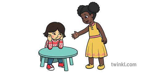 bērns palīdz cits bērns, piedāvājot draudzību vairākiem ...