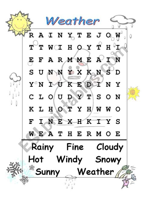 weather wordsearch esl worksheet by celiamc