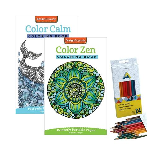 2 pack of adult coloring books with 24 colored pencils tanga