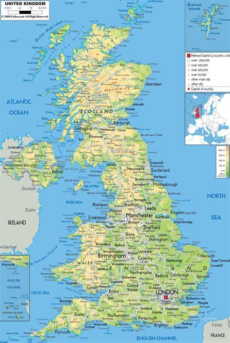 physical map  united kingdom ezilon maps