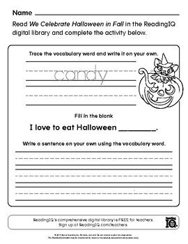 halloween writing worksheet  readingiq teachers