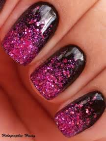 Black and purple nails with glitter easy nail designs for short