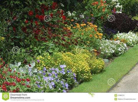 Flower Bed With Assorted Plants Stock Image  Image Of