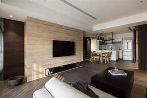 parquet fonce pierre parement naturelle et lambris bois With parquet foncé salon
