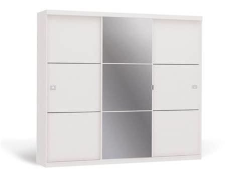 canapé 250 cm armoire avec miroir 3 portes coulissantes blanc valmar
