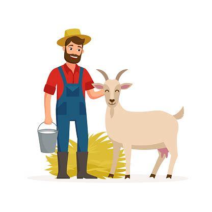 Vetores de Agricultor Com Cabra E Balde Com Leite De Cabra
