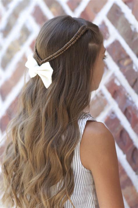 infinity braid tieback   school hairstyles cute