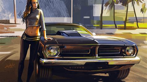 1920x1080 Car And Girl Artwork Laptop Full Hd 1080p Hd 4k