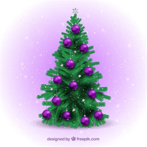 christmas tree with purple baubles vector free download