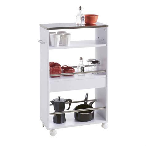 meuble cuisine largeur 50 cm desserte à roulettes en bois avec 4 plateaux et porte