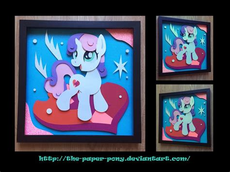12x12 Cutie Mark Sweetie Belle Shadowbox By The Paper Pony