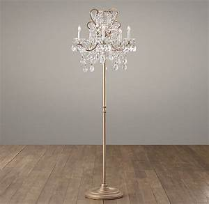manor court crystal 5 arm floor lamp aged gold With floor lamp babies r us