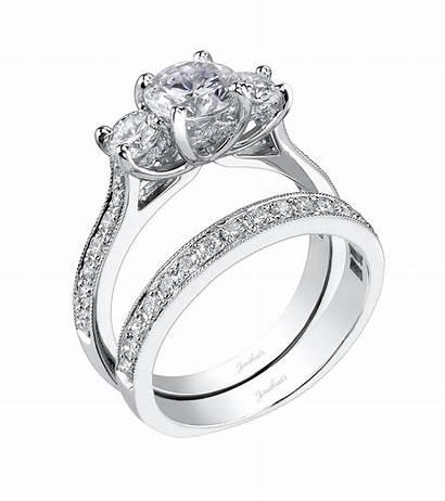 Stone Three Ring Engagement Rings Diamond Band