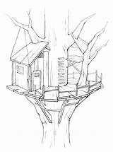 Coloring Tree Treehouse Drawing Awesome Colouring Buildings Albero Architecture Boomhut Magic Printable Drawings Disegno Adult Rocks Adults Chocolate Dark Popular sketch template