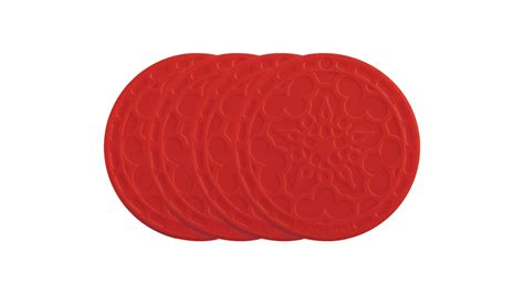 le creuset silicone silicone french coaster set  piece cherry red cutlery