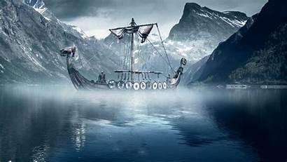 Viking Rune Background Ship