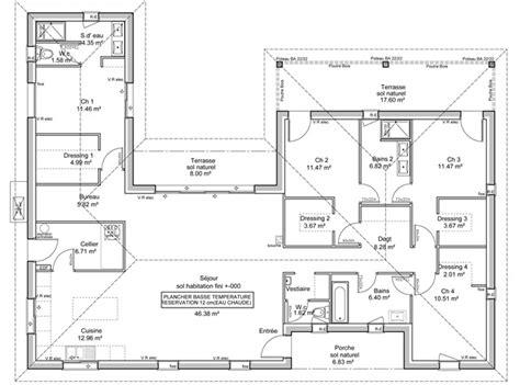plan de maison en u plain pied