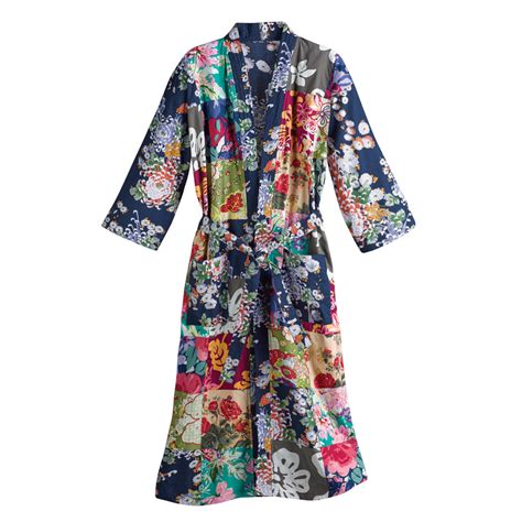 women s long bathrobe colorful floral patches cotton