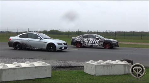 Audi S5 Vs Bmw M3 by Drag Race Bmw M3 E92 Vs Audi S5 Vs Mercedes C63 Amg