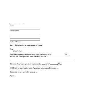 Tenant non renewal of lease sample letter form - Fill Out