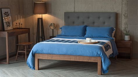 Tall Buttoned Headboard Bed