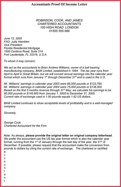 proof  income letter  samples formats   word