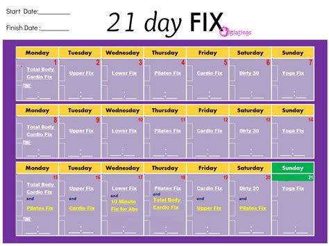 10 day calendar template 21 day fix workout calendar calendar monthly printable