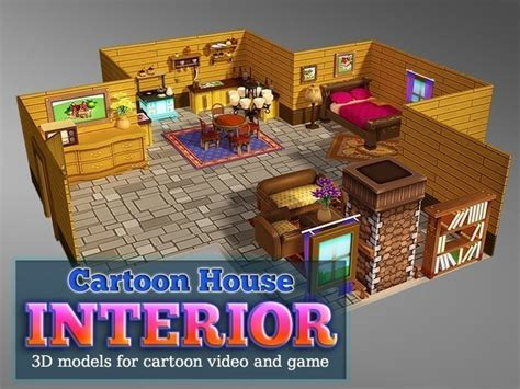 3d Model Cartoon House Interior