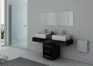 Double Vasque Meuble Salle De Bain : meuble de salle de bain double vasque noir dis988n ~ Edinachiropracticcenter.com Idées de Décoration