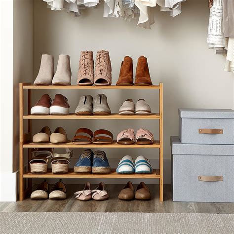 2 Tier Bamboo Stackable Shoe Shelf The Container Store