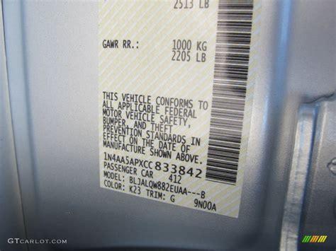 2012 maxima color code k23 for brilliant silver photo