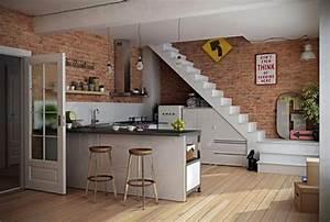 cuisine design sous lescalier a voir design feria With meuble cuisine petit espace 16 escalier maison bois moderne deco maison moderne
