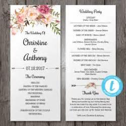 wedding reception program template floral bohemian wedding program template instant by youprintem pinteres