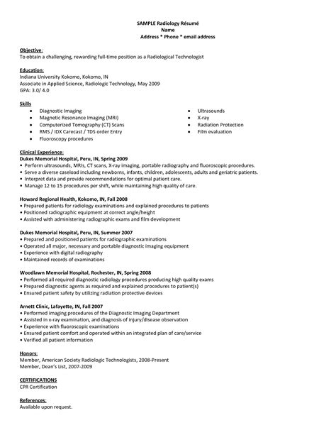 Ct Technologist Resume by Healthcare Resume Sle Radiologic Technologist