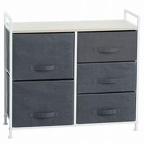 Meuble Rangement Gris : meuble de rangement 5 tiroirs 83 cm gris fonc maison fut e ~ Teatrodelosmanantiales.com Idées de Décoration