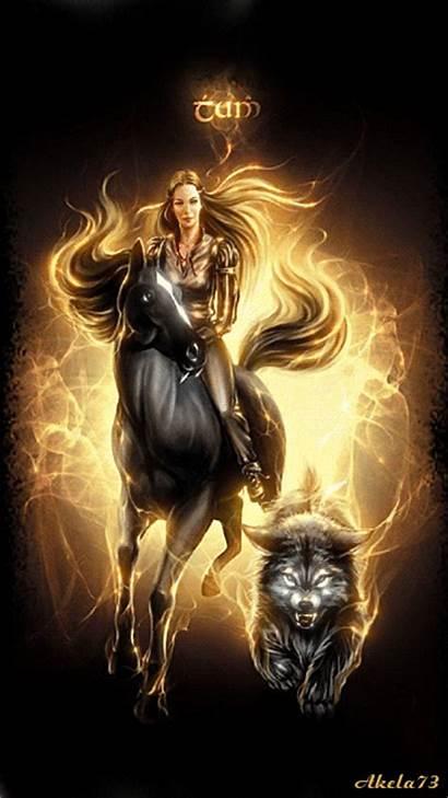 Gifs Wolf Woman Fantasy Animation Horsewoman Horse